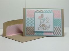 Pretty card using Stampin Up Tag It stamp set & square punches