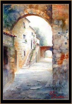 Civita di Bagnoregio Archway - Watercolor of Civita di Bagnoregio, Italy
