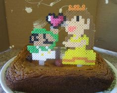 8Bit Luigi and Daisy Cake Topper by WinWolfz on Etsy, $15.00