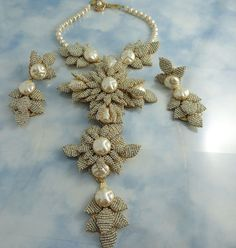 Stanley Hagler Maltese Cross Floral Necklace And Earring Demi Parure