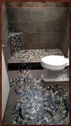 Fish Ceramic Tile Shower Floor Stream