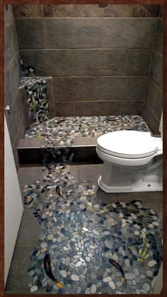 design concept idea for a rustic cabin bathroom stone tile floor ...