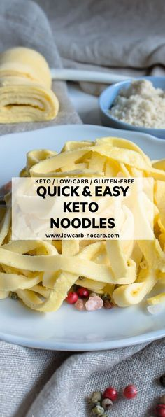 These Homemade Keto Egg Noodles Recipe with a perfect texture and only 4 ingredients and 8 minutes to bake are a perfect addition to your Low Carb Living. Fully Gluten-Free, Low Carb and easy to make, Egg Noodle Recipes, Homemade Noodle Recipe, Recipes With Eggs, Best Egg Recipes, Homemade Egg Noodles, Keto Noodles, Gluten Free Lasagna Noodles, Comida Keto, Low Carb Sauces