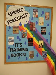 Looking for the best ideas for reading bulletin boards? We've rounded up some of our favorite reading bulletin boards from around the web, including seasonal, punny, and tech-inspired ideas. Reading Bulletin Boards, Spring Bulletin Boards, Bulletin Board Display, Reading Boards, April Bulletin Board Ideas, Display Boards, Weather Bulletin Board, Maths Display, Reading Display