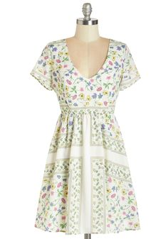 Graceful Vignettes Dress. Decorate your storybook day with the floral illustrations of this white V-neck dress.  #modcloth
