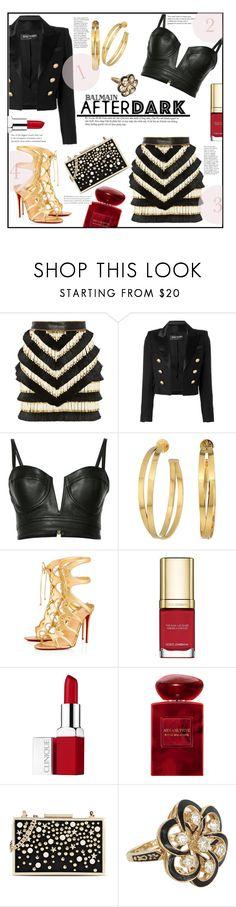 """""""In the Dark"""" by jckallan ❤ liked on Polyvore featuring Balmain, Tory Burch, Christian Louboutin, Dolce&Gabbana, Clinique, Giorgio Armani, Karl Lagerfeld, Vintage and afterdark"""