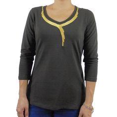 Camiseta algodon collar bordado manga francesa