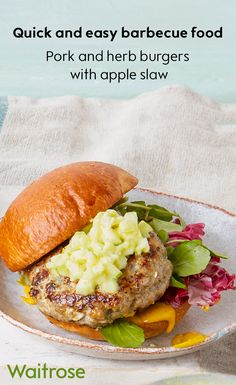 Get ready for barbecue season with our flavoursome pork and herb burgers – they taste delicious grilled or done on the BBQ. Top with a spoonful of homemade apple sauce for the perfect flavour combination. See the full recipe on the Waitrose recipe.