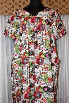Casual House Dress Day Dress Women s L-2X Rose Floral 6e228d1d9
