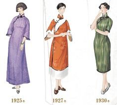 Interesting illustration of the changing shape of the Qipao between 1925~30...but length would likely be longer in the 1930s....