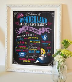 Alice in Wonderland Downloadable Customizable faux Chalkboard Birthday Sign; kids birthday party sign; printable PDF by BHamptonDesign on Etsy https://www.etsy.com/listing/233662150/alice-in-wonderland-downloadable