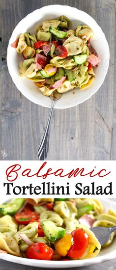 If you like pasta salad, you will L-O-V-E love Balsamic Tortellini Salad. This fast and easy pasta recipe is full of flavor, and lightly dressed with a classic balsamic vinegar and olive oil dressing.