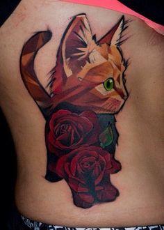 Best Geometric Tattoo – Cat Tattoo … - New Tattoo Models Top Tattoos, Sexy Tattoos, Unique Tattoos, Space Tattoos, Get A Tattoo, Tattoo Cat, Geometric Cat Tattoo, Cat Tattoo Designs, Worlds Best Tattoos