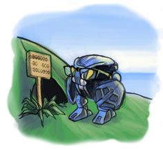 """Request- Gahlok for Foxfire5634 by CrunchbiteNuva.deviantart.com on @deviantART. For all you out there who can't read matoran, it says """"Please do not destroy"""", and the bohrok has glasses!!!"""