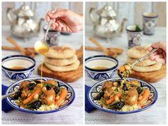 Tajine de pollo con verduras, ciruelas y almendras