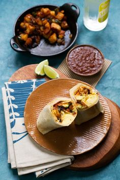 Smoky Vegetarian Breakfast Burrito - with a smoky potato hash and tortilla chips in the burrito! | @saltandwind | http://saltandwind.com