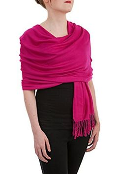 Opulent Luxury Fashion (Community) Cashmere Scarf Shawl Wrap Soft Bright Fuchsia 80 x 30 * For more information, visit image link.