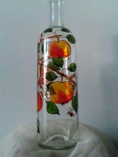 Kézzel festett alma mintás üveg