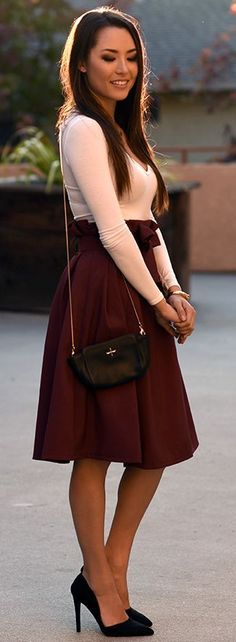 Tie-bow Midi Skirt In Burgundy Fall Street Style Inspo by Hapa Time