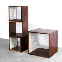 Large Walnut and Marble Cube • WorkOf