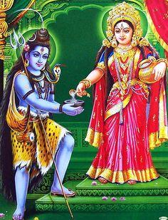 Lord Shiva gets Alms from Devi Annapurna (Mata Parvati) Shiva Parvati Images, Durga Images, Mahakal Shiva, Shiva Art, Hindu Art, Kali Hindu, Krishna Art, Photo Png, Photos Of Lord Shiva