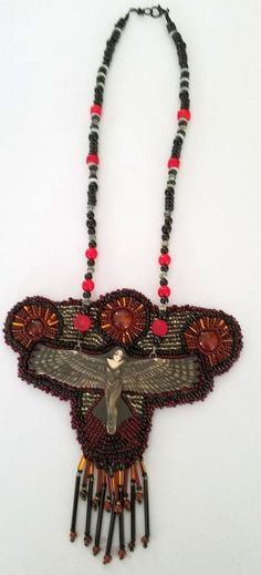 Raven Beaded Necklace by Dreamsweaver Glass Jewelry, Beaded Jewelry, Beaded Necklace, Necklaces, Bugle Beads, Seed Beads, Carnelian, Bead Weaving, Creations