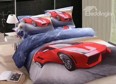 New Arrival Cool Red Racing Car Print 4 Piece Bedding Sets #beddingsets #printbeddingsets  @bedding inn