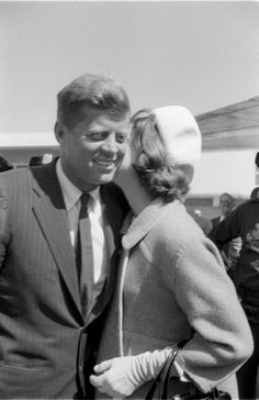 Jackie and Jack...A Rare Public Intimate Moment....So Sweet...