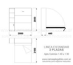Mueble cama 2 plazas rebatible simple con módulo lateral apto para colchón 1.40 x 1.90