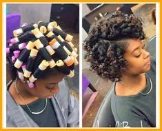 Curly Hair New coiffure styling natural black hair with rollers - Natural Hair Styles Short Relaxed Hairstyles, Permed Hairstyles, Medium Length Natural Hairstyles, Teen Hairstyles, Straight Hairstyles, Medium Hair Styles, Curly Hair Styles, Natural Hair Styles, Pixie Styles