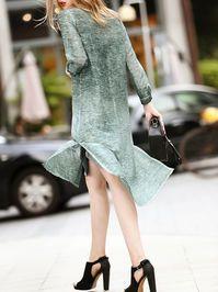 Frog Closure Silk/Linen Midi Dress