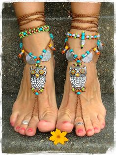 For Angie only. Boho OWL BAREFOOT Sandals cute Owl foot by GPyoga
