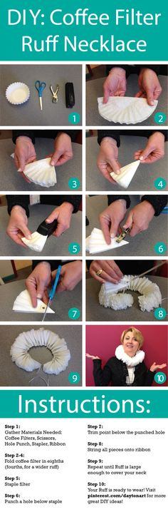 Make your own coffee filter ruff necklace for our Renaissance Ball this Friday! Make your own coffee filter ruff necklace for our Renaissance Ball this Friday! Clown Halloween, Fete Halloween, Holidays Halloween, Halloween Costumes, Meme Costume, Diy Costumes, Costume Ideas, Costumes Faciles, Costume Carnaval