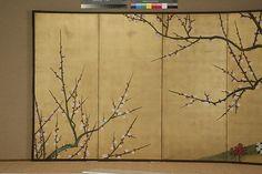 "Detail. Ogata Kenzan   Plum Tree and Hollyhocks   Japan   Edo period (1615–1868)   The Met. In Metropolitan Museum of Art's exhibition ""Designing Nature: The Rinpa Aesthetic in Japanese Art"""