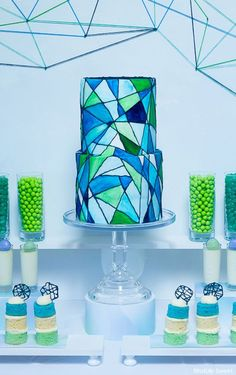 Gorgeous stained glass cake -- perfect for a modern, colorful wedding! - Designed by Jackie Fanto of Blissfully Sweet. #StainedGlassCake