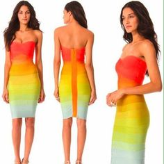 Bandage ombré dress This is a beautiful and unique ombré dress. good condition. Absolutely stunning!! Just need to downsize a bit at this time! [[[NO TRADES!!]]]❤️ cutest dress ever Dresses