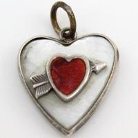 Vintage Sterling Silver MOP Red Arrow Enamel Puffy Heart Charm