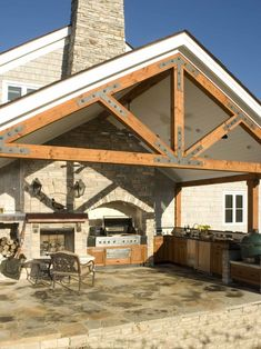 Outdoor Kitchens Design, like the idea of having the covered area as its own roof off the house. Then your not limited by the floor plan