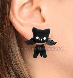 Black Bat Handmade Clinging Earrings Polymer Clay