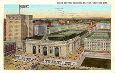 Vintage postcard. Grand Central Terminal Station, New York City.