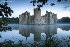 """""""Bodiam Castle"""" - photo by Joaquim Pinho, via Flickr;   14th-century moated castle near Robertsbridge in East Sussex, England;  built in 1385 by Sir Edward Dalyngrigge"""