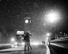 snowy london night