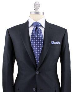 the magic of Brioni in blue...  Brioni Navy Tonal Stripe Suit