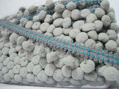 5 yards Silver Pom Pom Trim Stitch Ribbon Large Pom by ichimylove