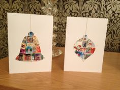 Christmas cards made from old Christmas postage stamps (bell and bauble)