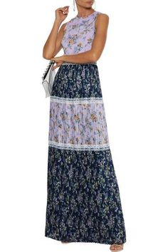 Mikael Aghal Pleated Floral-print Chiffon Maxi Dress In Lilac Lilac Dress, Chiffon Maxi Dress, Ladies Day Dresses, Beach Wear Dresses, Denim Shop, Print Chiffon, Jacket Dress, Dress Outfits, Short Dresses