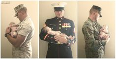 Her Daddy. Her Marine. Her Hero.  My daughter and My husband in her new born Photoshoot from Saturday.  Usmc Military photo