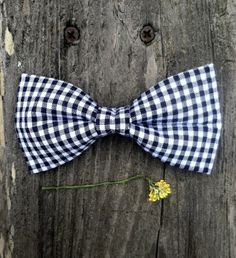 Handmade Clip On Bow Tie Men's Navy and White Gingham by GentlemanBowTieCo, $13.50