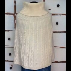 UNITED COLORS OF BENNETON IVORY COWL CABLED CAPE WORN TWICE WOOL ANGORA BLEND GORGEOUS FEEL TO THIS UC BENNETON SZ M  (I WEAR XS AND IT DOES NOT FEEL BIG). DRESS UP OR DOWN. A SHORT SKIRT AND BOOTS FOR A MOD LOOK OR OVER JEANS, WOOL SLACKS FOR A CLASSIC LOOK PEACE United Colors Of Benetton Jackets & Coats Capes