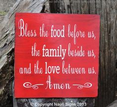 "Vintage, Home Decor, Kitchen, Dining Room Sign, Religious, Rustic Blessings Sign   This is a hand painted wood sign.  We us no vinyl or premade stencils.    It reads,  ""Bless the food before us, the family beside us, and the love between us, Amen"""